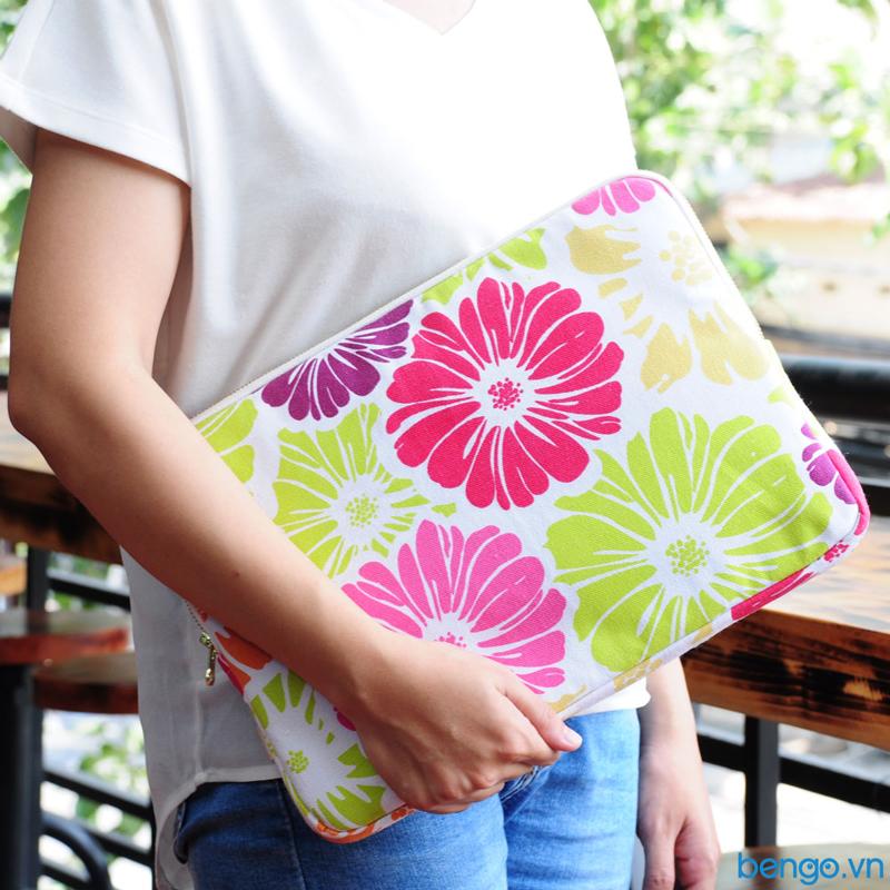 Túi bảo vệ laptop siêu mỏng hoạ tiết hoa cúc