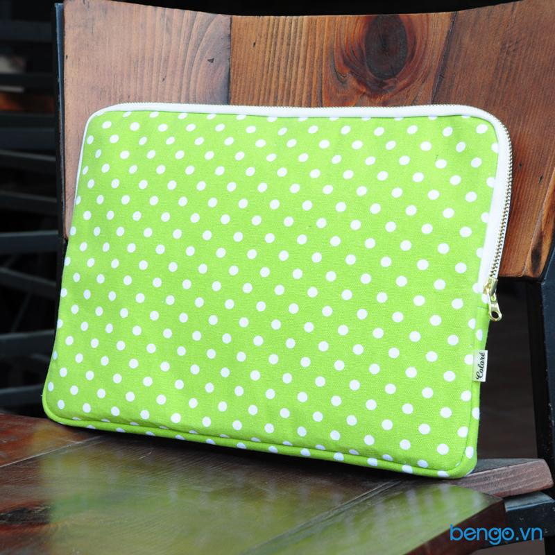 túi bảo vệ laptop siêu mỏng họa tiết chấm bi colore