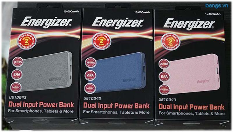 Pin dự phòng Energizer 10.000mAh bọc vải nhiều màu sắc - UE10043