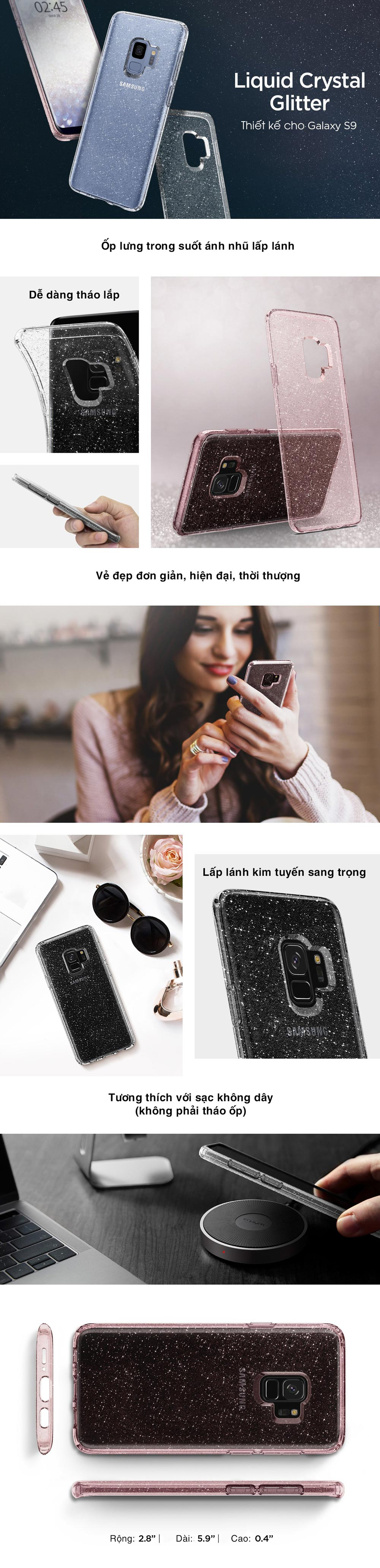 Samsung S9 Case Spigen Liquid Crystal Glitter